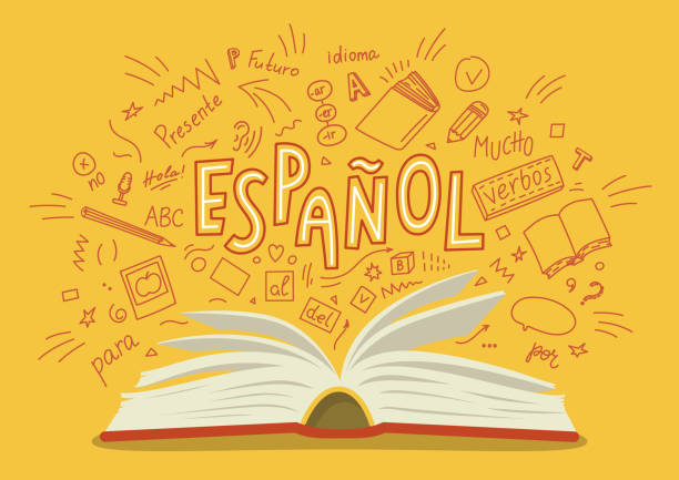 Espanol. Translation Spanish. Open book with language hand drawn doodles and lettering. Education vector illustration.